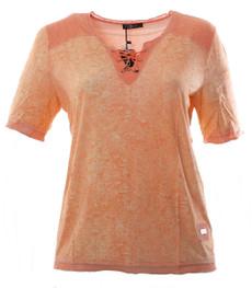 No Secret Damen T-Shirt mit Schnürung Orange große Größen 001
