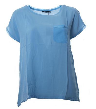No Secret Damen T-Shirt Hellblau mit Brusttasche, große Größen