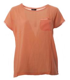 No Secret Damen T-Shirt Orange mit Brusttasche, große Größen 001