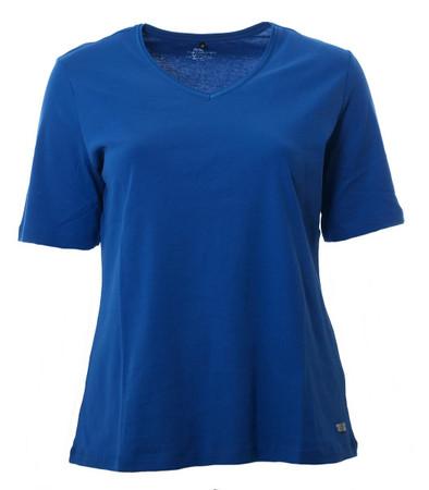 No Secret T-Shirt Damen V Ausschnitt Blau große Größen 100% Baumwolle