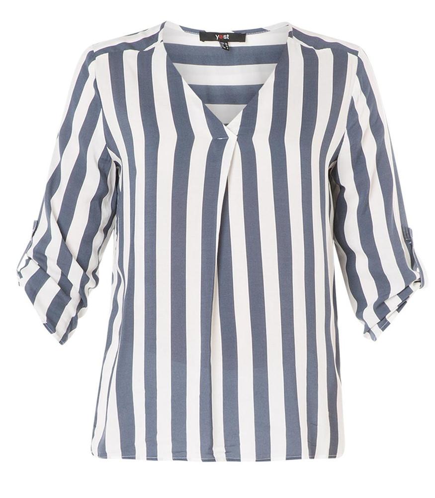 hot sale online de5bc 30b91 Details zu Yesta Damen Bluse Tunika Shirt kurzarm Blau Weiß gestreift große  Größen Viskose