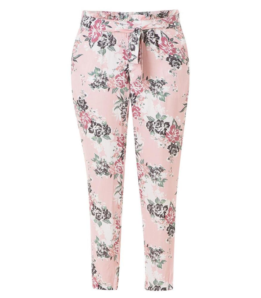 675d49d070cf14 leichte Yesta Damen Sommerhose lang aus Viskose Blumenmuster Rosa ...