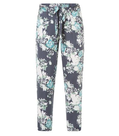 leichte Sommerhose Damen aus Viskose Blumenmuster Blau große Größen