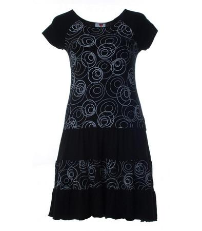 Damen Shirtkleid Schwarz mit Kreismuster knielang aus Stretch Viskose