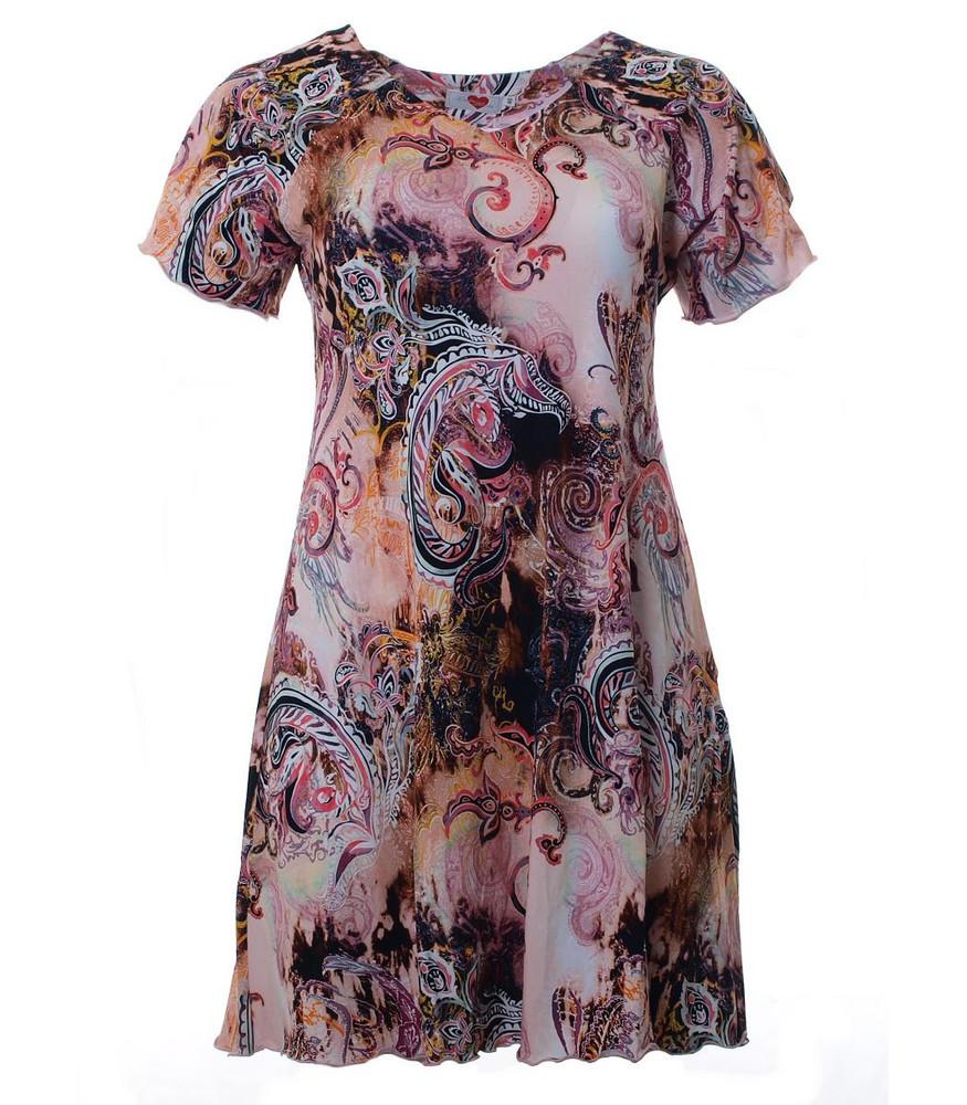 tunika-kleid rosa mit mit paisley-muster knielang große größen | mode für  mollige ❤ damenmode online shop für große größen