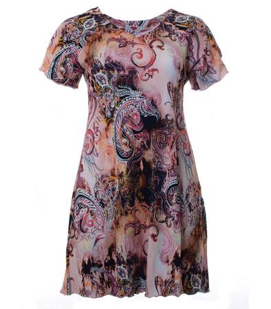Tunika-Kleid Rosa mit mit Paisley-Muster knielang große Größen