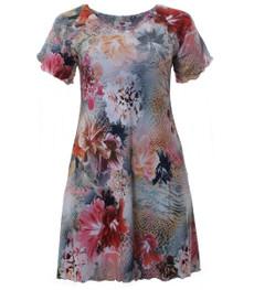 Tunika-Kleid Rosa mit mit Blumenmuster knielang große Größen 001