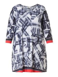 Longshirt Damen xxl große Größen halbarm Blau Rot 001
