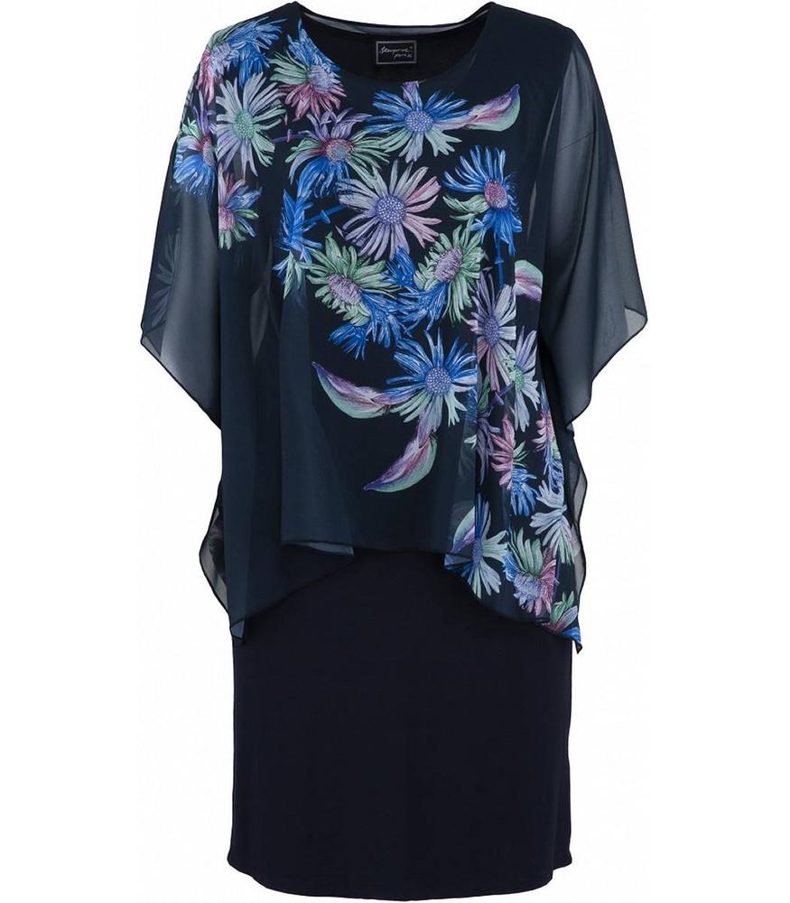 sempre piu damen kleid blau mit chiffon-stola knielang große größen   mode  für mollige ❤ damenmode online shop für große größen