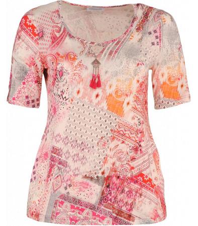 Chalou Damen T-Shirt A-Linie Weiß Pink große Größen