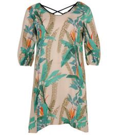 Aprico Damen Kleid Grün knielang kurzarm große Größen 001