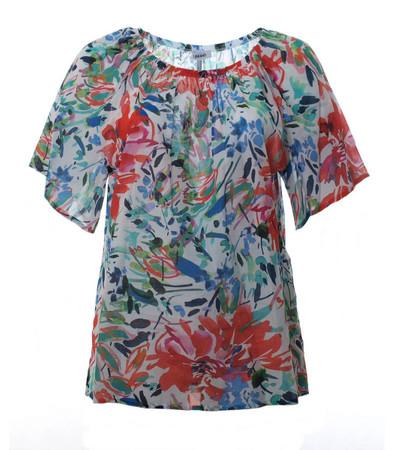 Carmen Shirt Damen große Größen aus Baumwolle Blau Rot