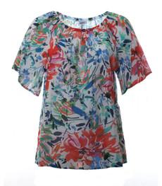 Carmen Shirt Damen große Größen aus Baumwolle Blau Rot 001