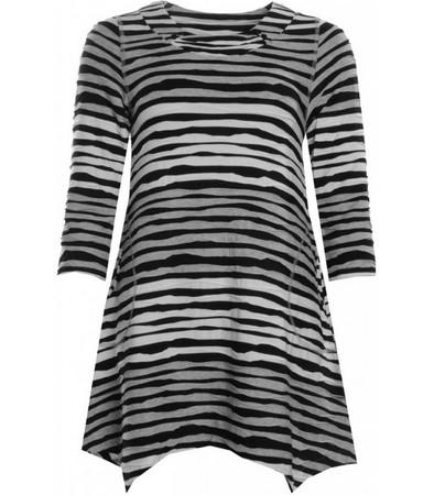 Jersey Tunika Damen Schwarz Weiß Grau gestreift