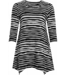 Jersey Tunika Damen Schwarz Weiß Grau gestreift 001