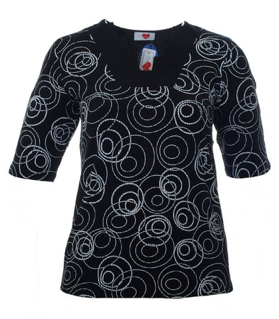 Damen T-Shirt Schwarz mit Kreis-Muster große Größen
