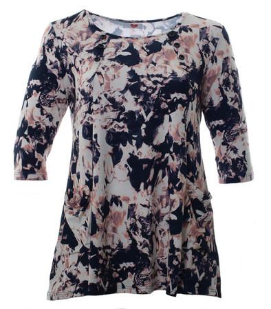 Damen Tunika-Shirt große Größen Schwarz Rosa Weiß