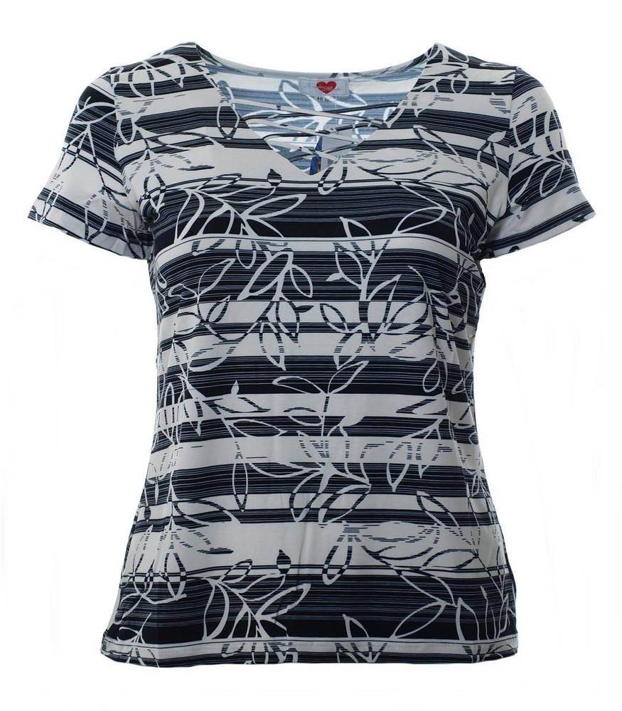 4397f53ae79732 Damen T-Shirt Schwarz Weiß mit Gitter V-Ausschnitt große Größen