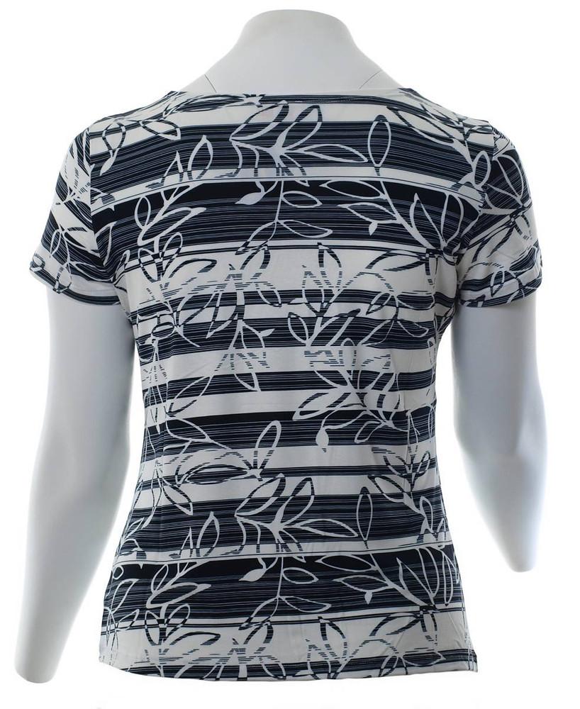 934f90f7bf8596 Damen T-Shirt Schwarz Weiß mit Gitter V-Ausschnitt große Größen – Bild 4