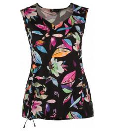 Damen Top Schwarz mit Blumen-Muster große Größen 001
