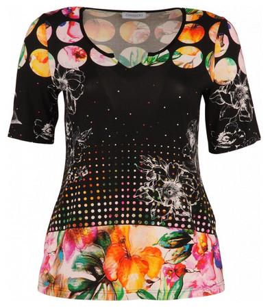 Chalou T-Shirt Schwarz Bunt für große Größen Damen A-Linie