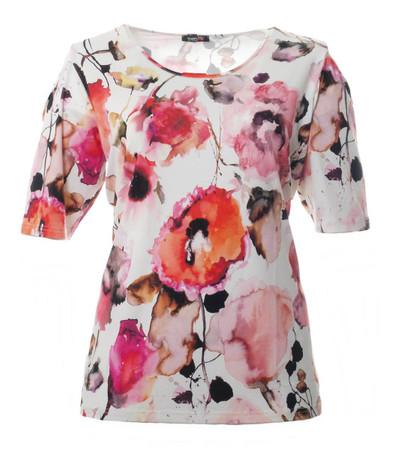 T-Shirt Blumen Damen Rosa Kurzarm große Größen schulterfrei
