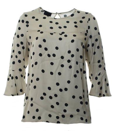 Damen Shirt Seide-Optik mit Punkte große Größen Beige