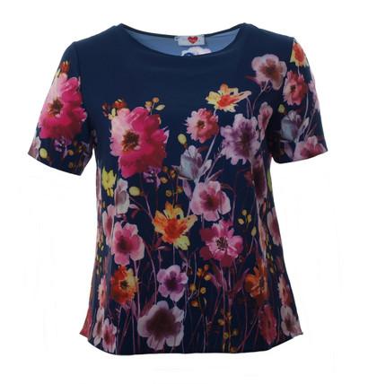 Damen T-Shirt mit buntem Blumen-Muster große Größen