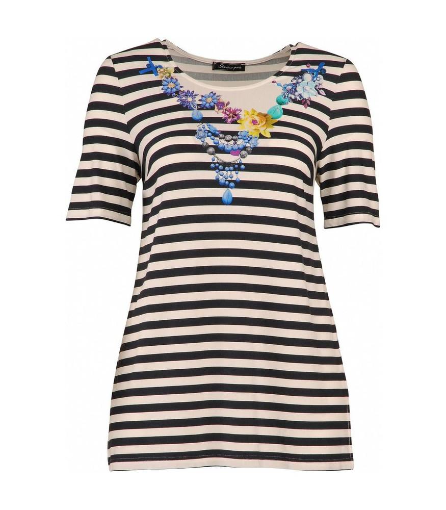 f667cdde34d4e5 Ringelshirt Damen T-Shirt Blau Weiß große Größen