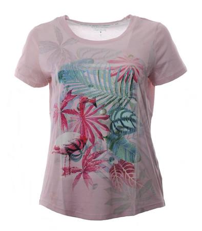T-Shirt Damen Rosa mit Strass Palmen