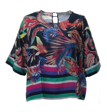 Oversize Chiffon T-Shirt Damen Schwarz Bunt