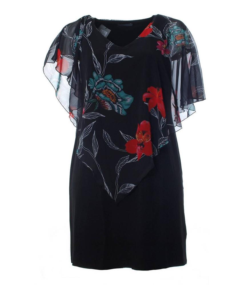 details zu abendkleid mit chiffon stola für den sommer damen knielang  blumenmuster schwarz
