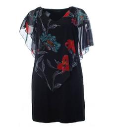 Abendkleid mit Chiffon Stola für den Sommer Damen knielang mit Blumenmuster Schwarz 001