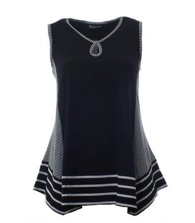 A-Linien Stretch Top ohne Ärmel für Damen in großen Größen Schwarz