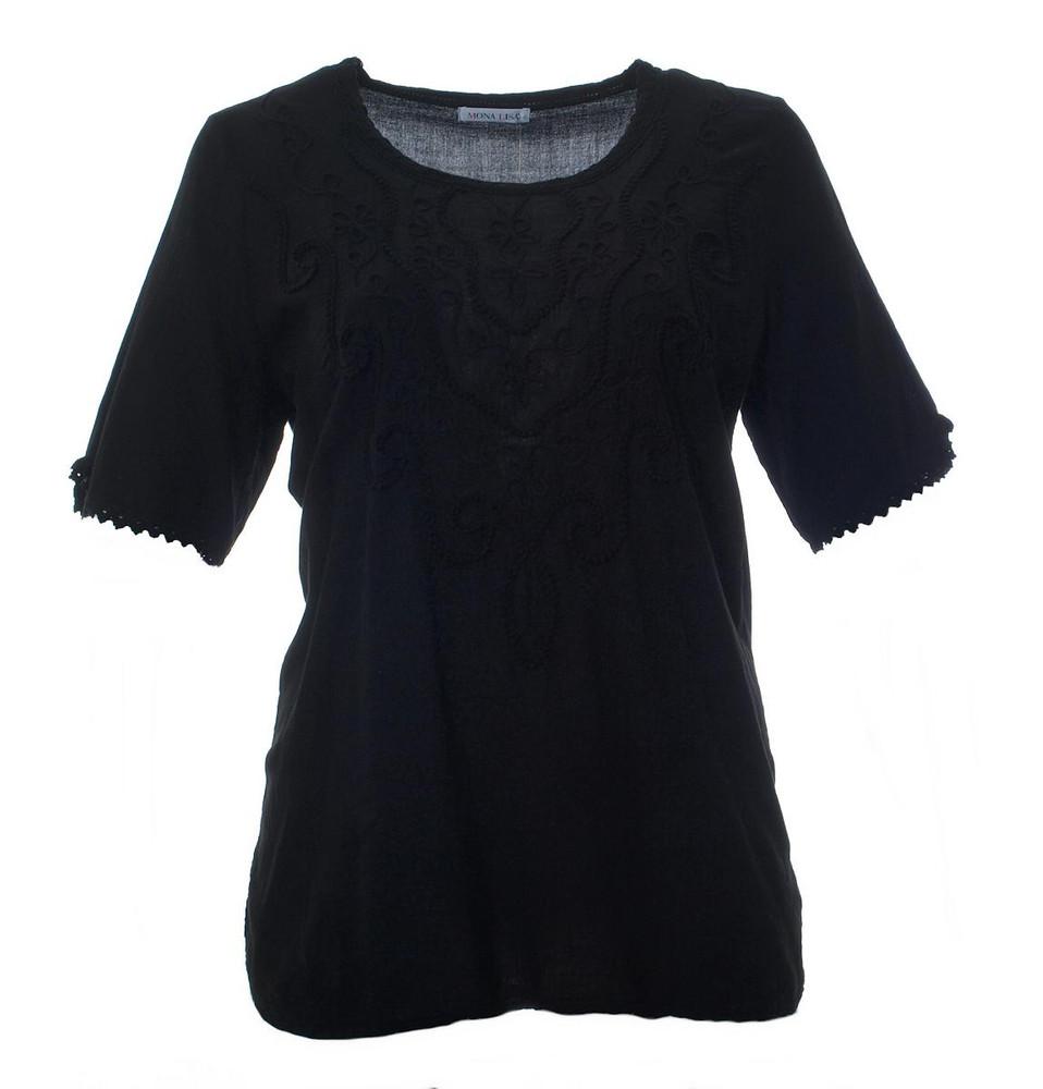 Website für Rabatt begehrte Auswahl an Großhandelspreis Tunika-Shirt Damen kurzarm Schwarz Baumwolle große Größen   Mode für  Mollige ❤ Damenmode Online Shop für große Größen