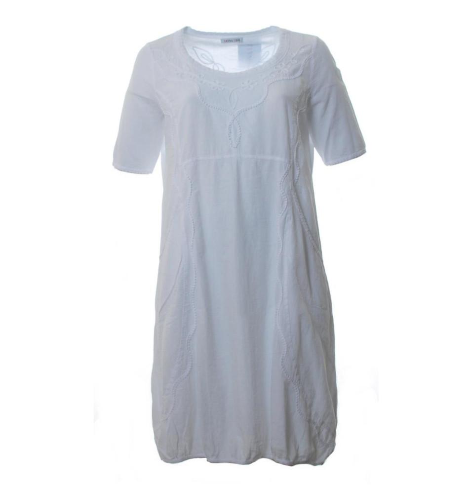 Mona Lisa Damen Sommer Kleid aus Baumwolle knielang Weiß  Mode für Mollige  ❤ Damenmode Online Shop für große Größen