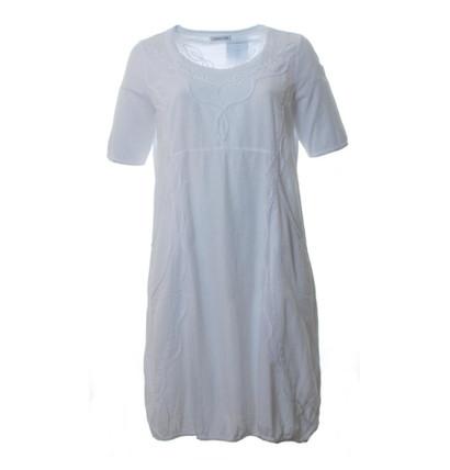 Mona Lisa Damen Sommer Kleid aus Baumwolle knielang Weiß