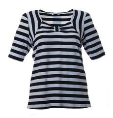 T-Shirt Damen kurzarm Schwarz Weiß gestreift große Größen 001
