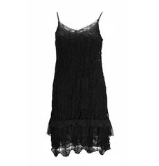 Damen Strickkleid mit Spaghettiträger Spitze Ajour-Muster Schwarz knielang 001