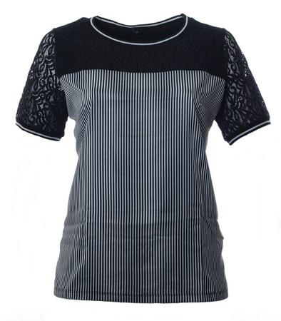 No Secret Damen T-Shirt Seide-Optik mit Spitze Schwarz große Größen