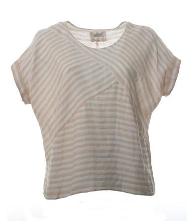 Fledermaus-Shirt Damen aus Leinen in Beige