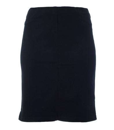 knielanger Rock Damen aus Stretch Baumwolle große Größen Schwarz