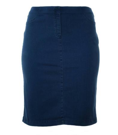 knielanger Rock Damen aus Stretch Baumwolle große Größen Jeans-Blau