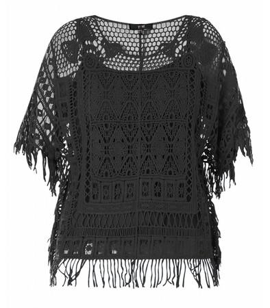 Häkel-Shirt Damen Schwarz mit Fransen 100% Baumwolle
