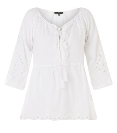 Tunika Damen Weiß leicht transparent große Größen aus 100% Baumwolle