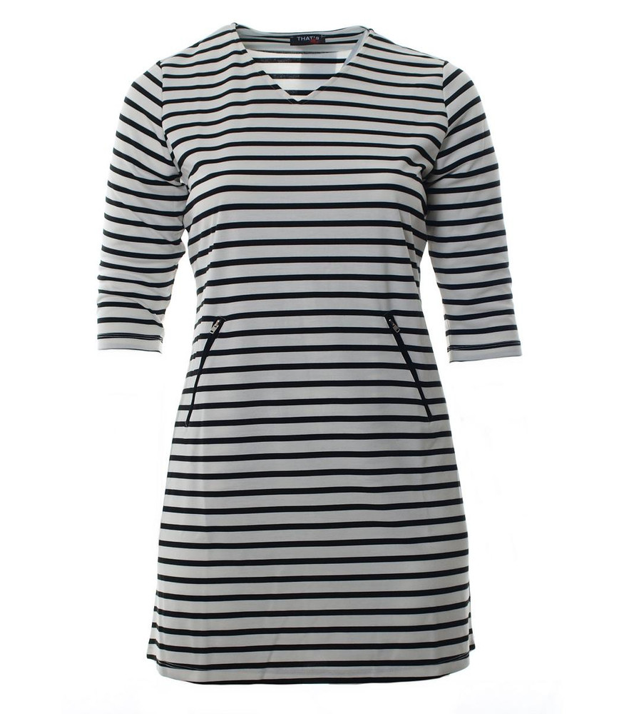 stretch kleid für damen weiß schwarz gestreift knielang | mode für mollige  ❤ damenmode online shop für große größen
