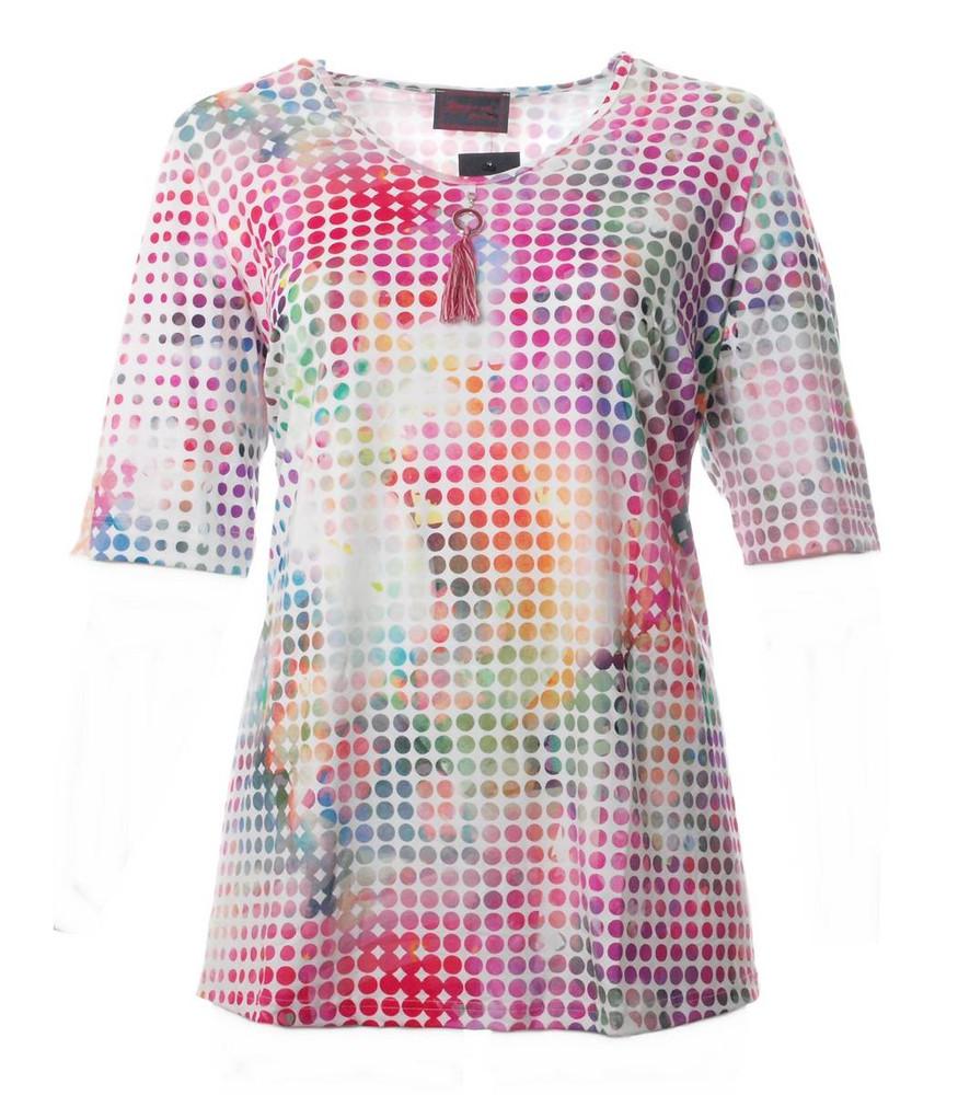 4968f9984dcb Damen T Shirt mit Punkte - Sommershirt große Größen in Pink