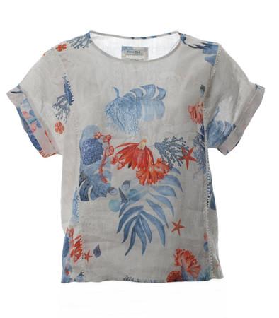 Oversize Leinen-Shirt Damen Top in Beige Blau