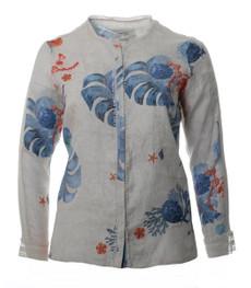 Leinen Bluse Damen große Größen in Beige Blau 001
