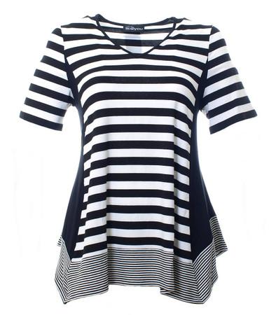A-Linien Stretch T-Shirt für Damen in großen Größen Schwarz Weiß
